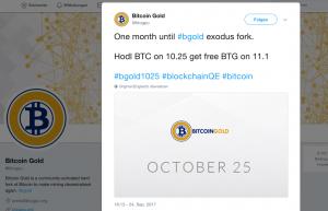 Bitcoin Gold sorgt für Kursexplosion: Tweet