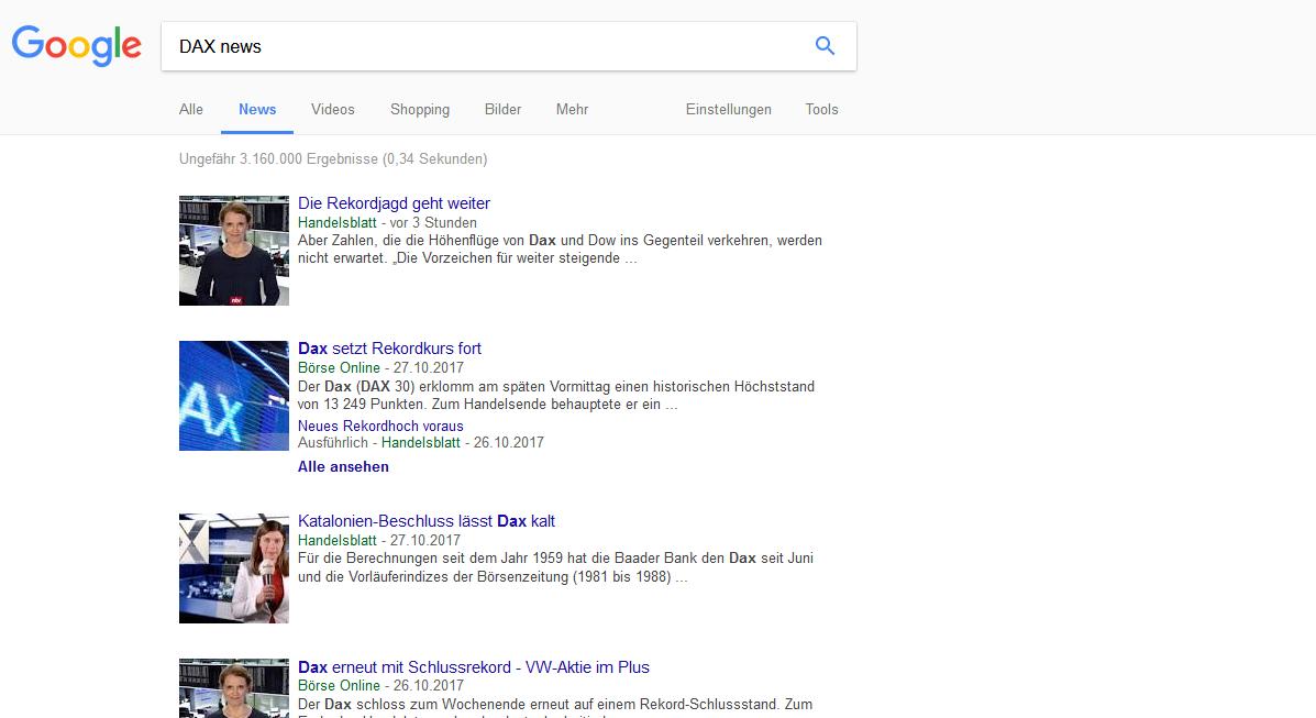 DAX News bei Google finden