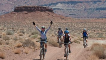 Fahrradfahrer auf einem Weg