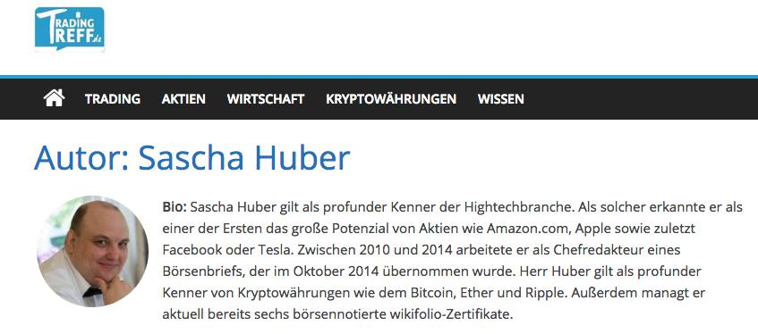 Profil Sascha Huber auf Trading-Treff