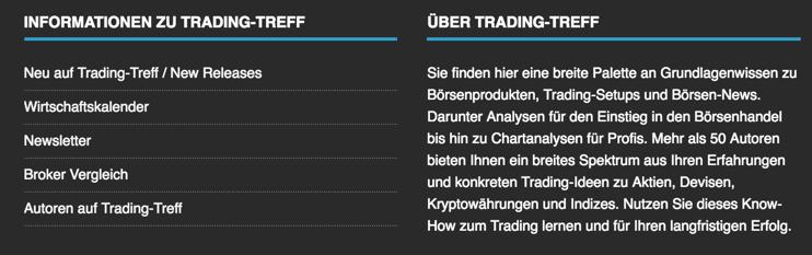 Trading-Treff Informationen im Footer