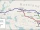 Streckenverlauf des TransEurasiaExpress - Quelle: Wikipedia, User Pechristener, Eigenes Werk, map was created using Open Street Map, CC BY-SA 2.0