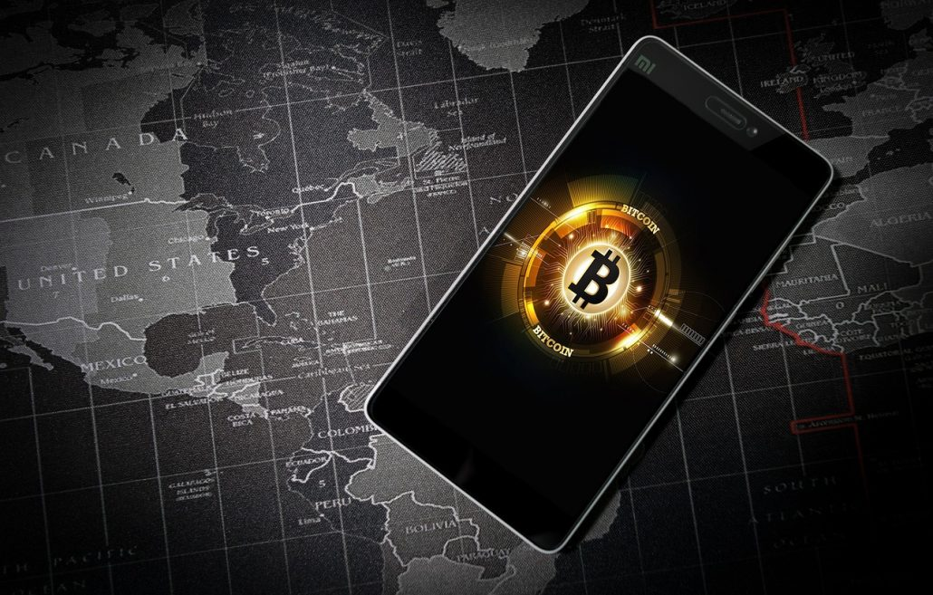 Bitcoinsymbol auf Smartphone