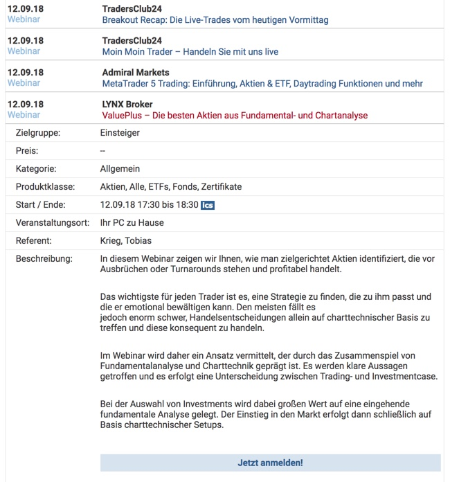 Beispiel: Webinarkalender auf finanztreff.de