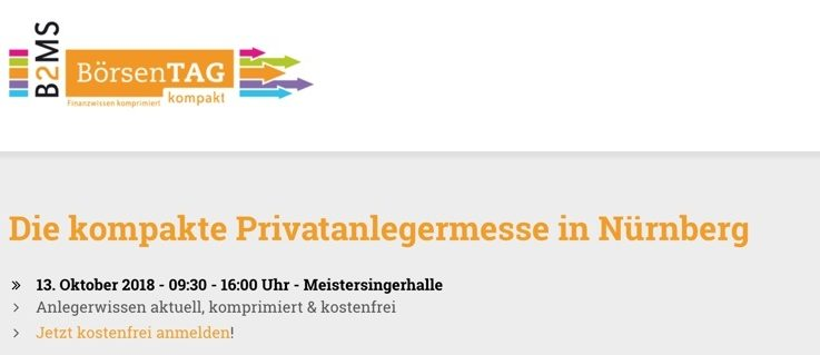 Treffpunkt am 13.10.2018 - Börsentag kompakt Nürnberg