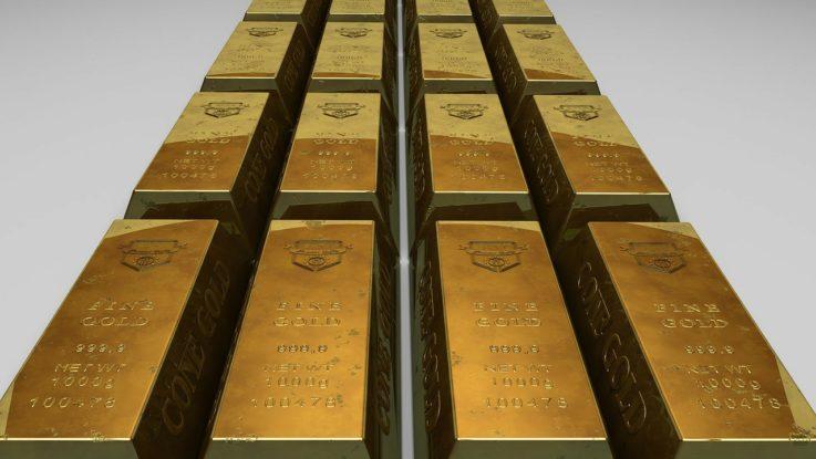 Goldbarren in einer Reihe