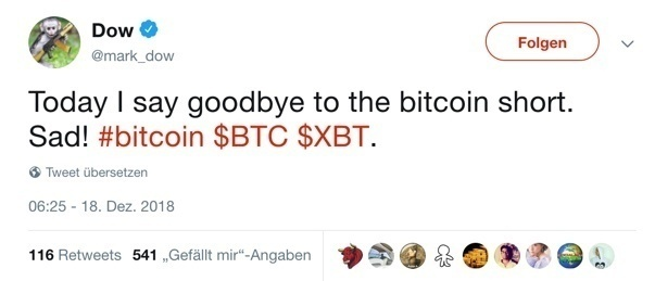 Tweet Mark Dow zu Bitcoin