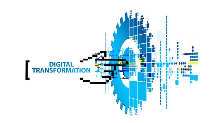 Abstraktes Schaubild zur digitalen Transformation