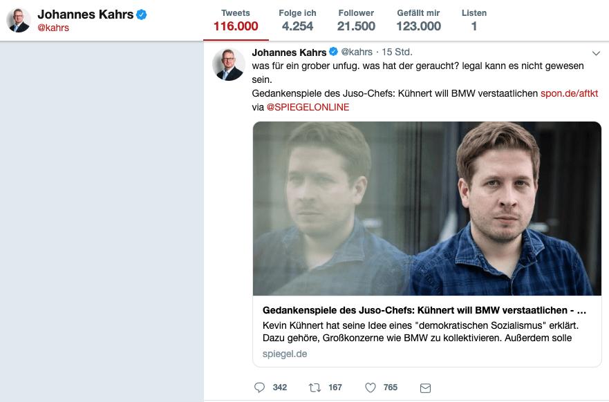 Twitter Beitrag von Johannes Kahrs am 01.05.2019