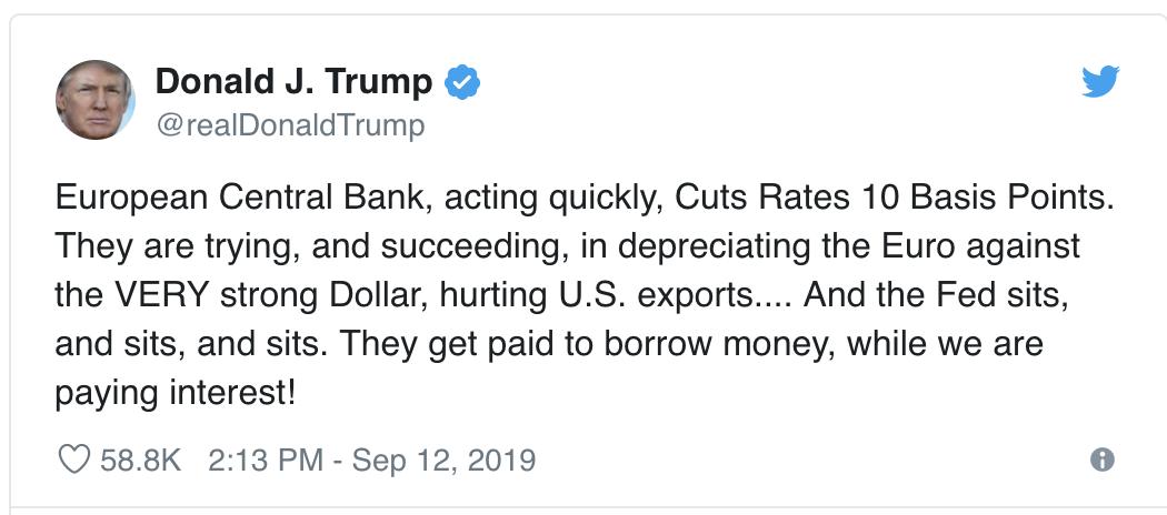 Trump Tweet nach EZB-Sitzung