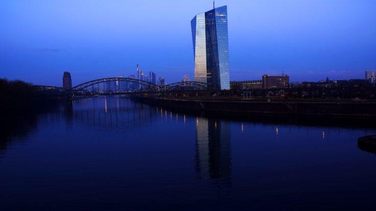 EZB Gebäude in der Dämmerung