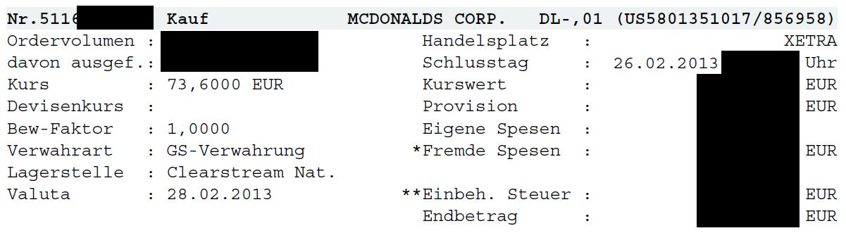 Zweite Order in der McDonalds-Aktie