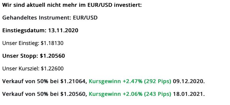 Vergleich EUR und USD